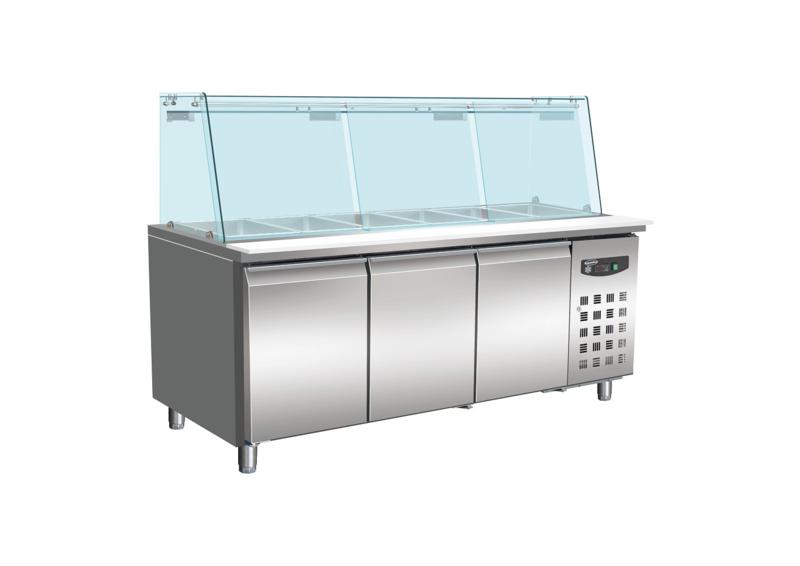 Multinox koelwerkbank met glasopstand 3 deuren