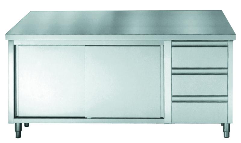 Multinox RVS werktafel met schuifdeuren en 3 lades - 1600 mm