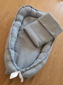 Babynestje + dekentje wafel jeans blauw