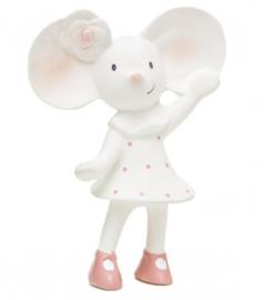 Meiya & Alvin knijp- en bijtknuffeltje Meiya de muis wit/roze 16 cm