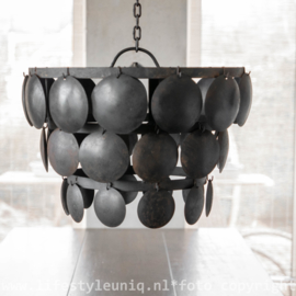 Oudzwarte Metalen Schijfjeslamp 40 cm