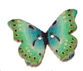 Knoop Houten Vlinder - Groen Stip