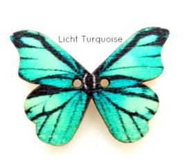 Knoop Houten Vlinder - Licht Turquoise