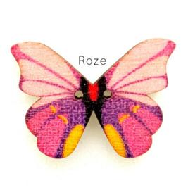 Knoop Houten Vlinder - Roze