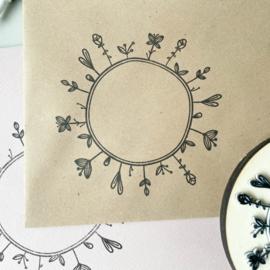 Stempel bloemen cirkel