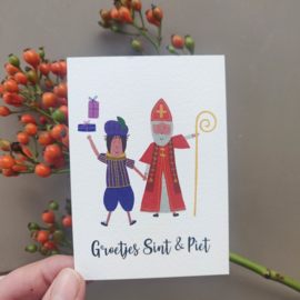 Kaartje 'Groetjes Sint & Piet'