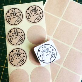 Stickers 35mm kraftbruin rond