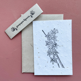 Bedrukte groeipapierkaart + enveloppe bloem 4