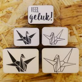 Stempel origami kraanvogel 'vlakken'