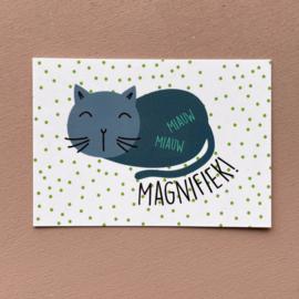 A7 kaartje kat - Miauw miauw magnifiek!