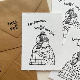 Kaart oud Hollands geschept - papieren knuffel