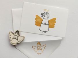 Kerstkaart + enveloppe gouden engeltje
