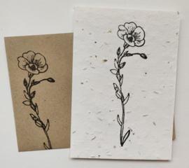 Bedrukte groeipapierkaart + evenloppe bloem 2