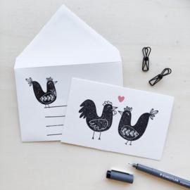 Kaart + enveloppe verliefde kippen