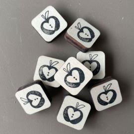 Stempel mini - appel met hartjes