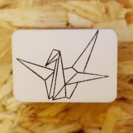 Stempel origami kraanvogel lijn