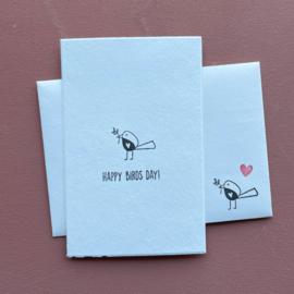 Kaart + enveloppe 'Happy birds day!'