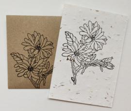 Bedrukte groeipapierkaart + evenloppe bloem 3