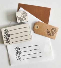 Stempel adresregels bloem