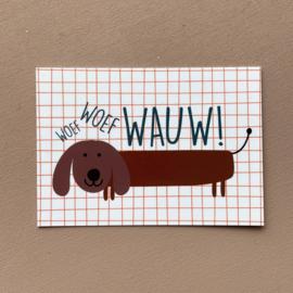 A7 kaartje hond - Woef woef wauw!