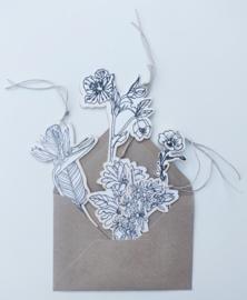 Labels bloemen 5st.