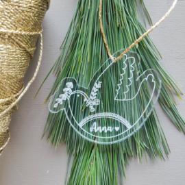 Kersthanger duif met naam