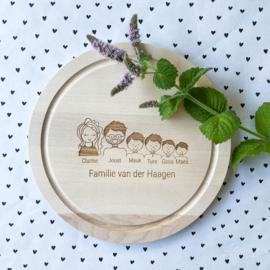 Ontbijtplank rond gezin gepersonaliseerd