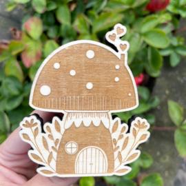 Stempel paddenstoel huisje groot