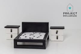 Set nachtkastjes zwart wit