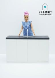 Modern kitchen black Barbie scale