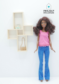 Wall cabinet four squares Barbie size