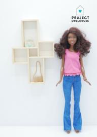 Wandmeubel vier vakken Barbie formaat