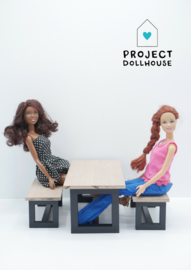 Black Modern dining table Barbie size