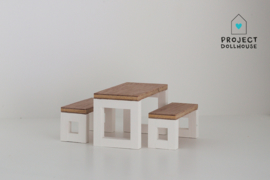 Modern dining set with benches white