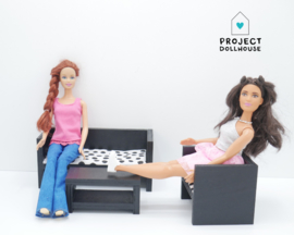 Modern lounge set Black Barbie size