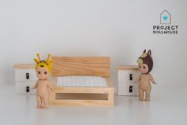 Set nachtkastjes wit/hout