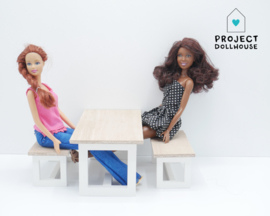 White Modern dining table Barbie size