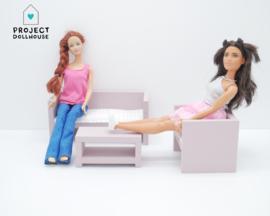 Modern lounge set Old pink Barbie size