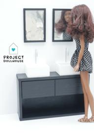 Badkamer compleet Zwart Barbie formaat