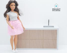 Wooden kitchen Grey Barbie scale