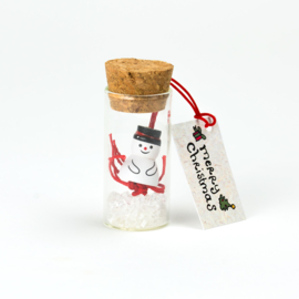 geluksflesje merry christmas sneeuwpop