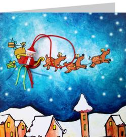 Wenskaart kerstslee kleur
