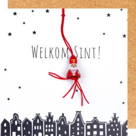 Wenskaart Sinterklaas welkom Sint