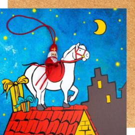 Wenskaart Sinterklaas op paard