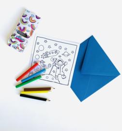 Inkleur kaart ruimte zonder potloden