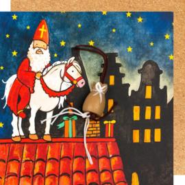 Wenskaart Sinterklaas op dak