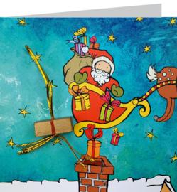 Wenskaart kerstman schoorsteen