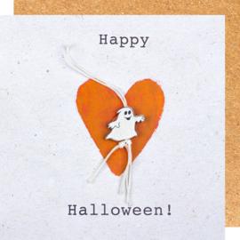 Wenskaart Happy Halloween spook
