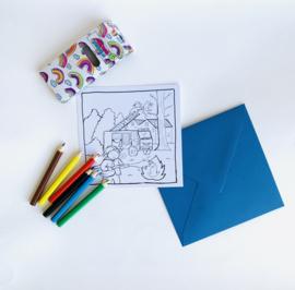 Inkleur kaart brandweerman zonder potloden