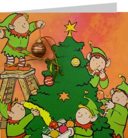 Wenskaart kerstelfjes boom
